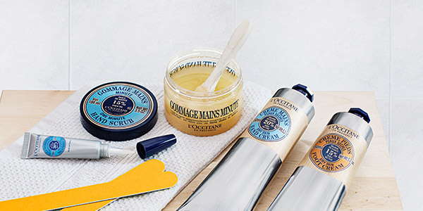 a relaxing spa day at home - Shea Butter Ultra Rich Body Scrub - l'Occitane